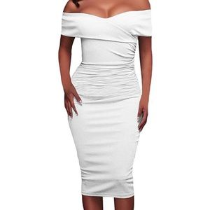 White Off the Shoulder Ruched Dress